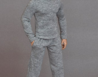 1/6th scale grey sweatpants tracksuit bottoms for: action figures and male fashion dolls