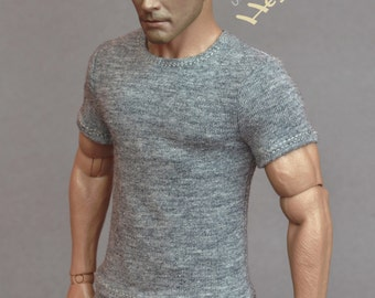 1/6th scale grey T-shirt for: regular size collectible movable action figures and male fashion dolls