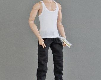 Longer 1/6th scale black jeans trousers for: FR male dolls and taller figures