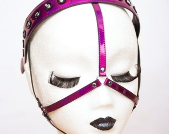 Purple Mirror Metallic PVC Face Harness Studded Face Mask Headband Costume Accessory