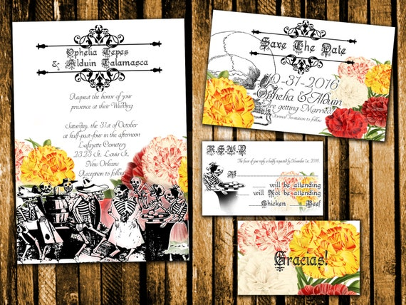 Day Of The Dead Wedding Invitations: Dancing Skeletons Day Of The Dead Wedding Invitation Save The