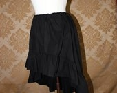 "High Low Mini Cecilia Skirt -- Black Cotton -- Ready to Ship -- Best Fits Up To 34"" Waist"