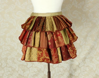 "Patchwork Ruffle Bustle Overskirt - 3 Layer, Sz. XS - Red & Gold - Best Fits Up to 34"" Waist or Upper Hip"