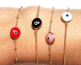 Evil Eye Bracelet - Gold Filled or Sterling Silver - Gold Eye Charm Bracelet - Layering Bracelet - Valentine's Gift