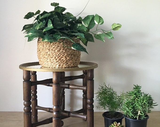 Vintage Solid Wood Folding Plant Stand / Pedestal Base / Tripod with Turned Legs