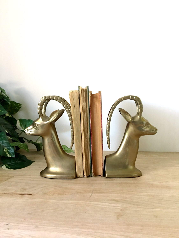 Mid century solid brass deer gazelle bookends set of 2 - Deer antler bookends ...