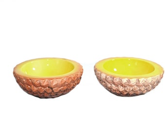 Vintage Pineapple Dessert Bowls Pineapple Dish Yellow Pineapple Dish Holt Howard Ceramic Bowl - a Pair