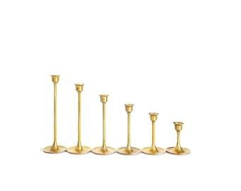 Brass Candlesticks  Brass Candle Holders Graduated Brass Candlesticks Wedding Candlesticks Minimalist Candlesticks