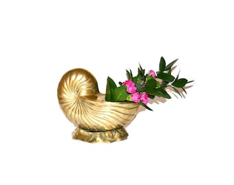 Brass Shell Planter Brass Nautilus Shell Planter Brass Nautilus Planter Beach Decor Brass Seashell