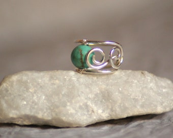 Teal - tiny sterling silver wire ear cuff with turquoise bead