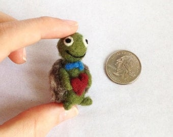 The Very Tiny Giving Turtle - AdoraWools Needle Felted Gift