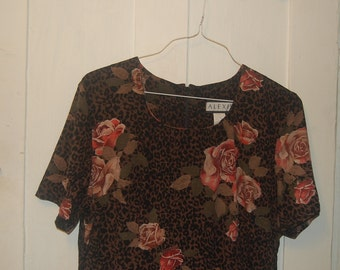Vintage Plus Size 14 Midi Dress Leopard and Roses Floral Animal Print Short Sleeved Pink Red Flowers