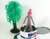 Can of Monkey, a Needle Felted Miniature Sock Monkey in a Can