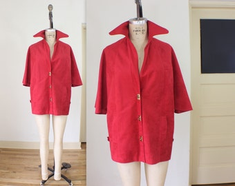 Red Poncho Coat / Vintage Women's Outerwear