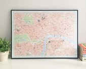 Central London retro style map 70 x 50 cm giclee print