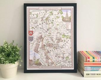 Shoreditch & Spitalfields (London E1/EC3) illustrated map giclee print