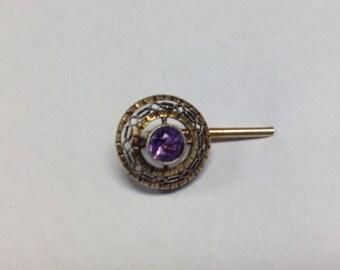 14k Vintage Yellow Gold Amethysist Stick Lapel Hat Pin