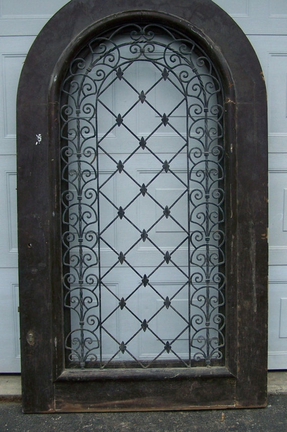 Antique Pediment Windowdoors With Iron Panelarched Black