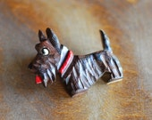 vintage 1940s carved wood terrier brooch / dog jewelry