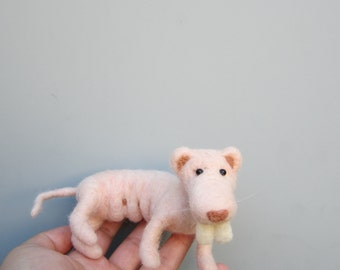 Naked mole rat, weird animal, needle felted,pink rat, rodent sculpture, unique creatures, MADE TO ORDER