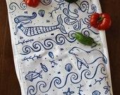 Organic Cotton Kitchen Tea Towel - Ocean - Hand Printed - Beach Sea Cabin - Summer