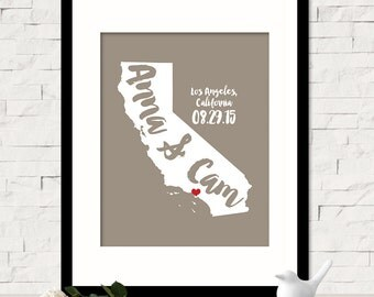 Personalized California State Wall Art - Custom Name Map - Personalized Wedding Location State Map Print - Wedding Gift for Her  - ANY STATE
