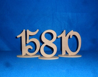 """Wooden 6""""  Script Table Numbers set 1-30 with 1/4""""  on Oval Base MDF / WOOD"""