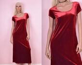 90s Red Velvet Dress