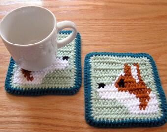 Corgi Dog Coasters. Crochet coasters with Pembroke Welsh corgis.