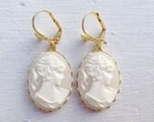 Cameo Earrings/Cream Cameo Earrings/White Cameo Earrings/Downton Abbey Inspired Earrings/Gifts For Her/Bow Earrings/Victorian Earrings