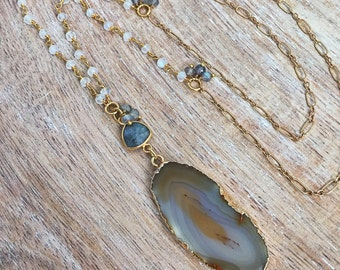 Gold Agate Slice Necklace // Rainbow Moonstone Wire Wrapped Rosary Chain, Labradorite Gemstone Accent, Gray, Brown, Natural Mineral Rock