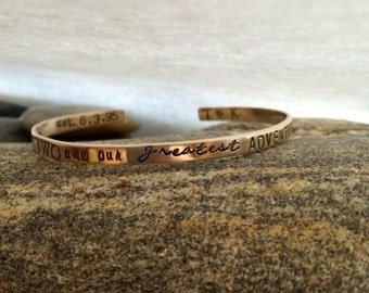 YOU are our Greatest Adventure kids names - Mom Brag Bangle Bracelet - Gold filled Bangles - Hand stamped Bangles - Gold Jewelry Gifts
