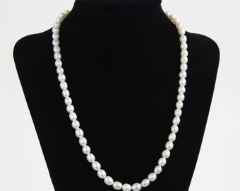 15 inch Authentic Freshwater White Pearl Strand - Smooth Oval Rice 6-7mm Beads (53 Pieces)
