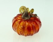 Glass Pumpkin by Jonathan Winfisky - Transparent Bright Garnet Red - Hand Blown Glass