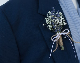 Lavender with Babys Breath Boutonniere - Real Dried Flowers - Rustic Groom Mens Wedding Accessory Pin
