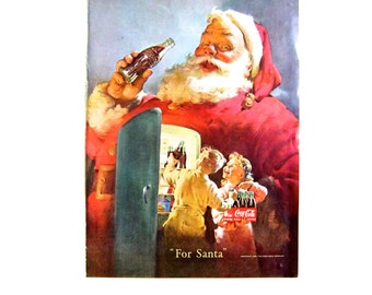 "Vintage Mid Century Coca Cola Advert ""For Santa"" Christmas 1950s"