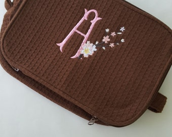 Large Waffle Weave Cosmetic/Toiletry Case- Cherry Blossom Monogram-Bridesmaid Gift-Double Zipper-Wipe clean interior- Makeup Organizer