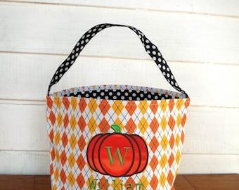 Personalized Halloween trick or treat bag, Monogrammed Halloween pumpkin Dimond pattern bag, kids Halloween bag