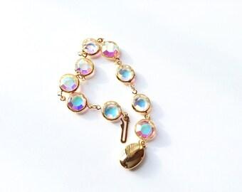 Signed Swarovski Crystal Bracelet Bezel Set Aurora Borealis Rainbow Finish Vintage Designer Fashion Jewelry