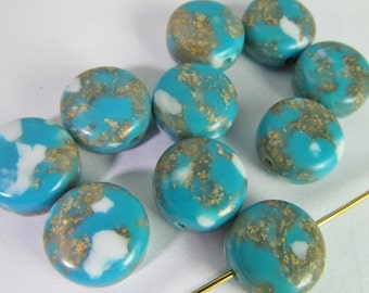 30 Vintage 10mm Turquoise and Gold Lucite Round Tablet Beads Bd1819