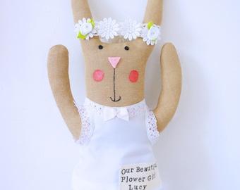 Flower girl gift, bridesmaid present, personalised bunny rabbit.