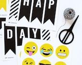 Emoji Birthday Party Decor Banner - Printable PDF