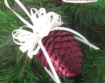 Fabric Pinecone Ornament - Burgundy Satin Ribbon with Cream Satin Bow - Christmas Ornament - Stocking Stuffer - Gift for Co-Worker