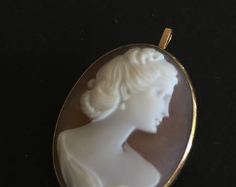 14KT Antique CAMEO - Pendant - FIGURAL Brooch