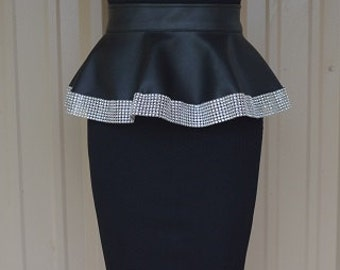 Black Faux Leather Peplum with BlingTrim Hem 6 or 8 inch