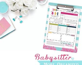 Babysitter. More Organized. - Babysitter Notes Printable PDF File - Up to3 Kids