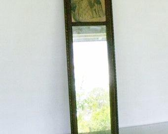 """32"""" Antique Framed Mirror with Print Wood Wall Hanging Victorian Rectangular"""