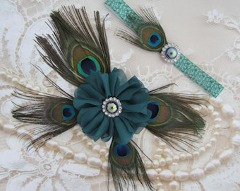 Peacock Feather Butterfly Wing Photo Prop for Newborn Photo Shoots, delicate peacock feathers AND/OR Peacock Headband by Lil Miss Sweet Pea
