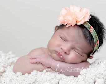 Peach Blossom with Floral Print Elastic Headband, new baby, Lil Miss Sweet Pea Photographer, baby blossom hairband, bebe, foto, newborn