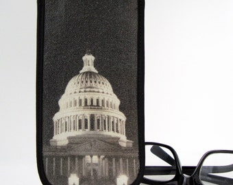 Eyeglass Case with Vintage Photo: US Capitol at Night, c. 1930